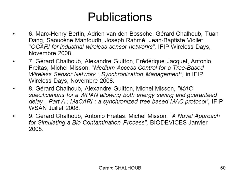 Gérard CHALHOUB50 Publications 6.