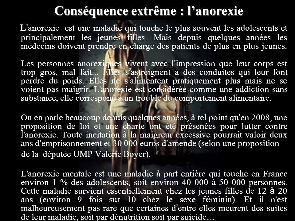 L anorexie est une maladie qui touche le plus souvent les adolescents et principalement les jeunes filles.
