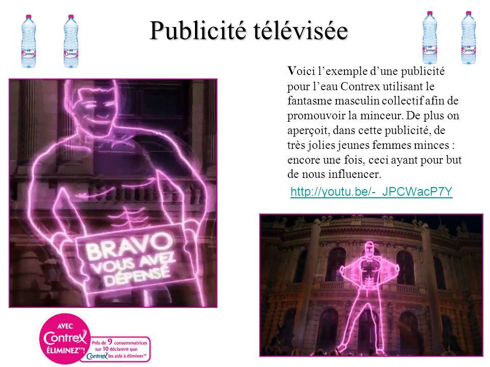 V oici lexemple dune publicité pour leau Contrex utilisant le fantasme masculin collectif afin de promouvoir la minceur.