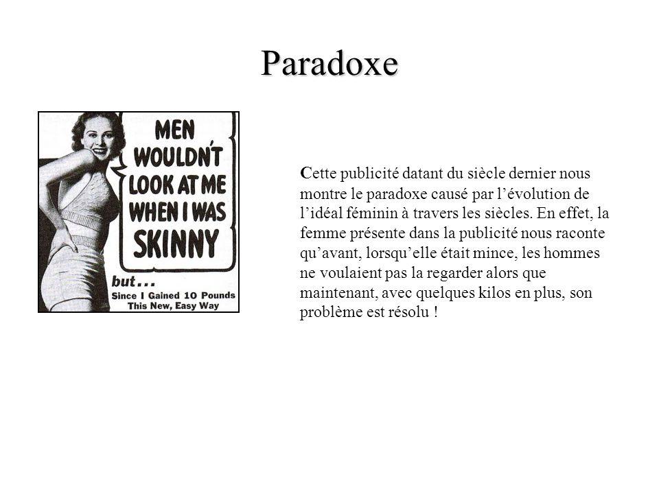 Paradoxe C ette publicité datant du siècle dernier nous montre le paradoxe causé par lévolution de lidéal féminin à travers les siècles. En effet, la