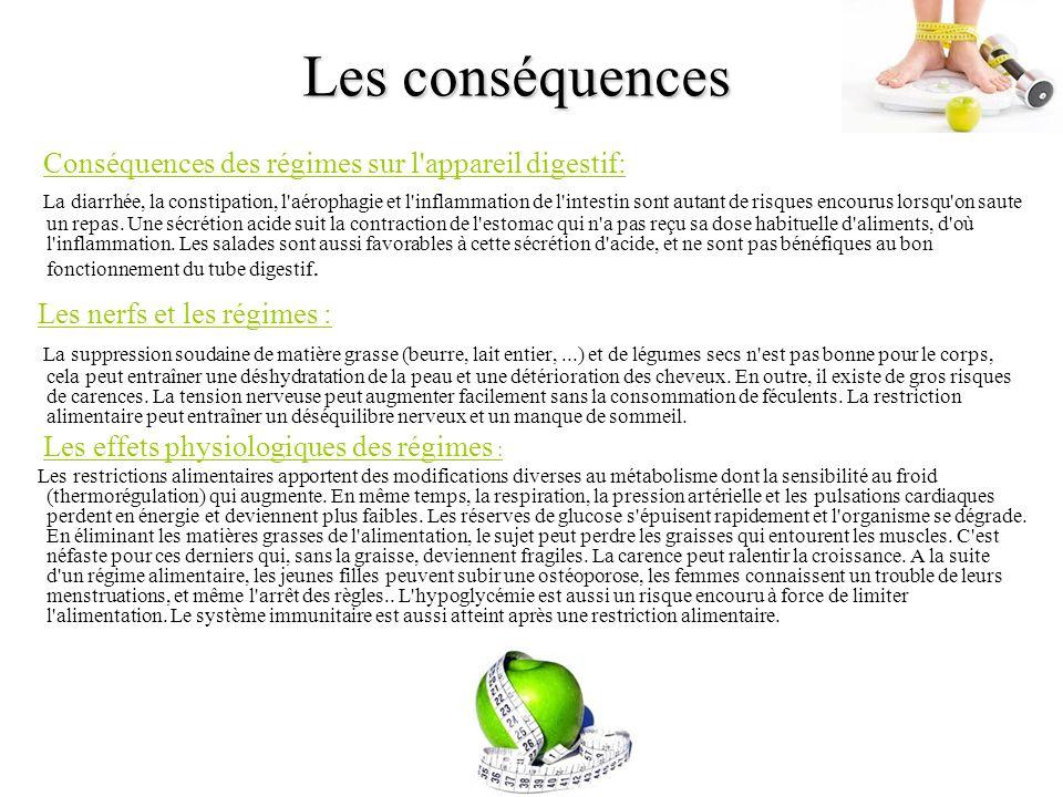 Les conséquences Conséquences des régimes sur l'appareil digestif: La diarrhée, la constipation, l'aérophagie et l'inflammation de l'intestin sont aut
