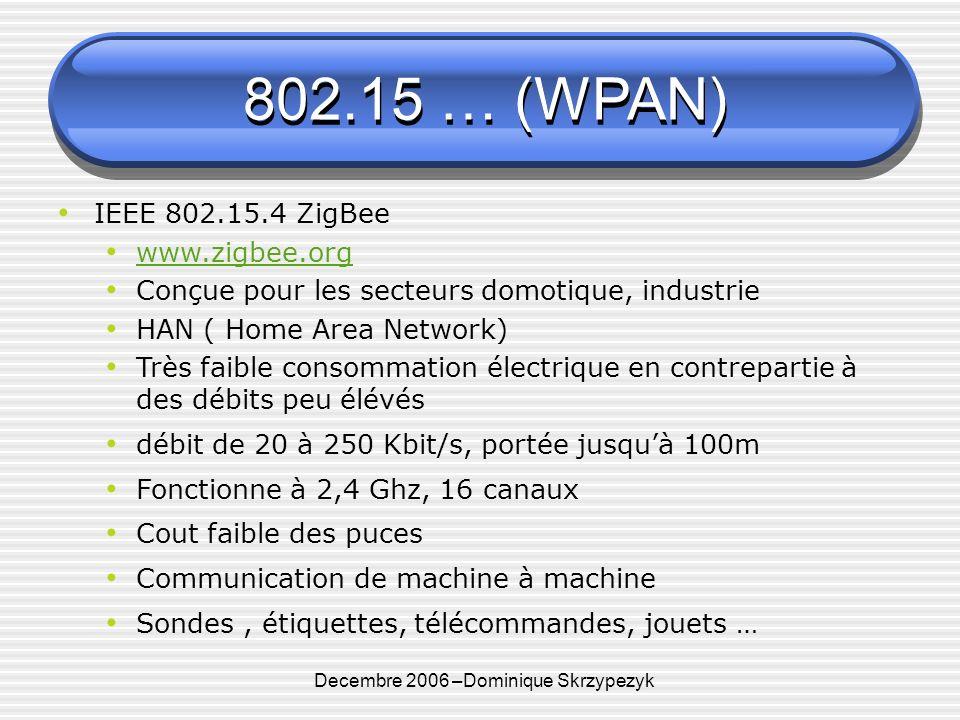 Decembre 2006 –Dominique Skrzypezyk 802.15 … (WPAN) IEEE 802.15.4 ZigBee www.zigbee.org Conçue pour les secteurs domotique, industrie HAN ( Home Area Network) Très faible consommation électrique en contrepartie à des débits peu élévés débit de 20 à 250 Kbit/s, portée jusquà 100m Fonctionne à 2,4 Ghz, 16 canaux Cout faible des puces Communication de machine à machine Sondes, étiquettes, télécommandes, jouets …