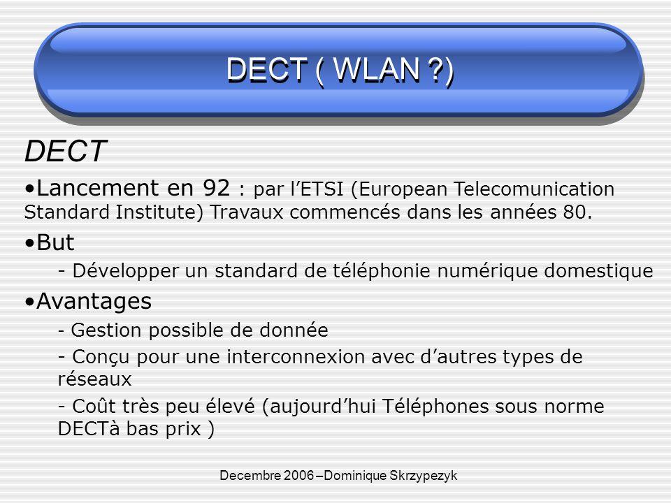 Decembre 2006 –Dominique Skrzypezyk DECT ( WLAN ) DECT Lancement en 92 : par lETSI (European Telecomunication Standard Institute) Travaux commencés dans les années 80.