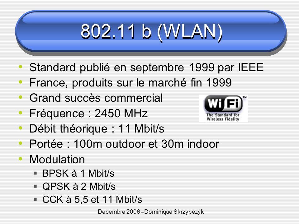 Decembre 2006 –Dominique Skrzypezyk 802.11 b (WLAN) Standard publié en septembre 1999 par IEEE France, produits sur le marché fin 1999 Grand succès commercial Fréquence : 2450 MHz Débit théorique : 11 Mbit/s Portée : 100m outdoor et 30m indoor Modulation BPSK à 1 Mbit/s QPSK à 2 Mbit/s CCK à 5,5 et 11 Mbit/s