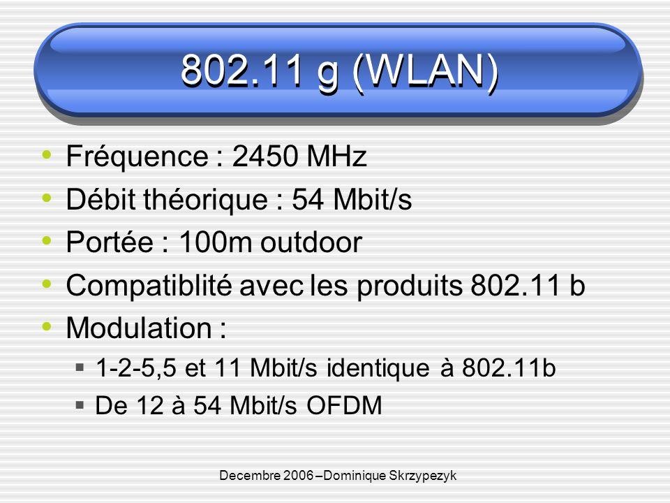 Decembre 2006 –Dominique Skrzypezyk 802.11 g (WLAN) Fréquence : 2450 MHz Débit théorique : 54 Mbit/s Portée : 100m outdoor Compatiblité avec les produits 802.11 b Modulation : 1-2-5,5 et 11 Mbit/s identique à 802.11b De 12 à 54 Mbit/s OFDM