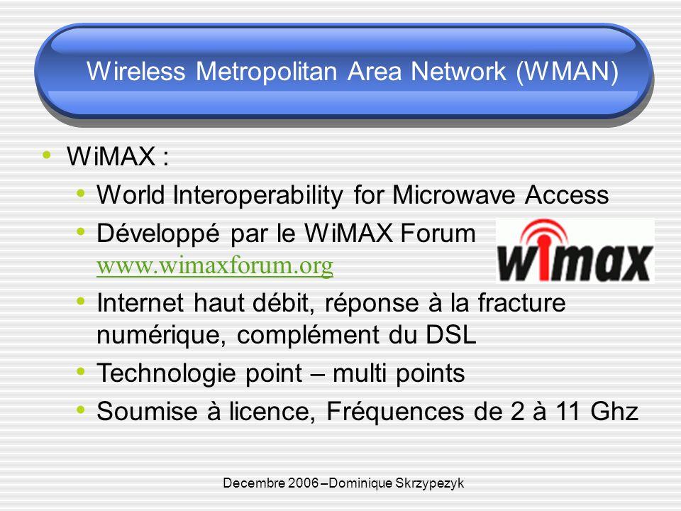 Decembre 2006 –Dominique Skrzypezyk Wireless Metropolitan Area Network (WMAN) WiMAX : World Interoperability for Microwave Access Développé par le WiMAX Forum www.wimaxforum.org www.wimaxforum.org Internet haut débit, réponse à la fracture numérique, complément du DSL Technologie point – multi points Soumise à licence, Fréquences de 2 à 11 Ghz