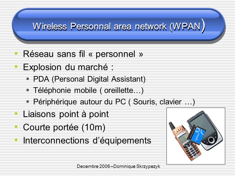 Decembre 2006 –Dominique Skrzypezyk Wireless Personnal area network (WPAN ) Réseau sans fil « personnel » Explosion du marché : PDA (Personal Digital Assistant) Téléphonie mobile ( oreillette…) Périphérique autour du PC ( Souris, clavier …) Liaisons point à point Courte portée (10m) Interconnections déquipements