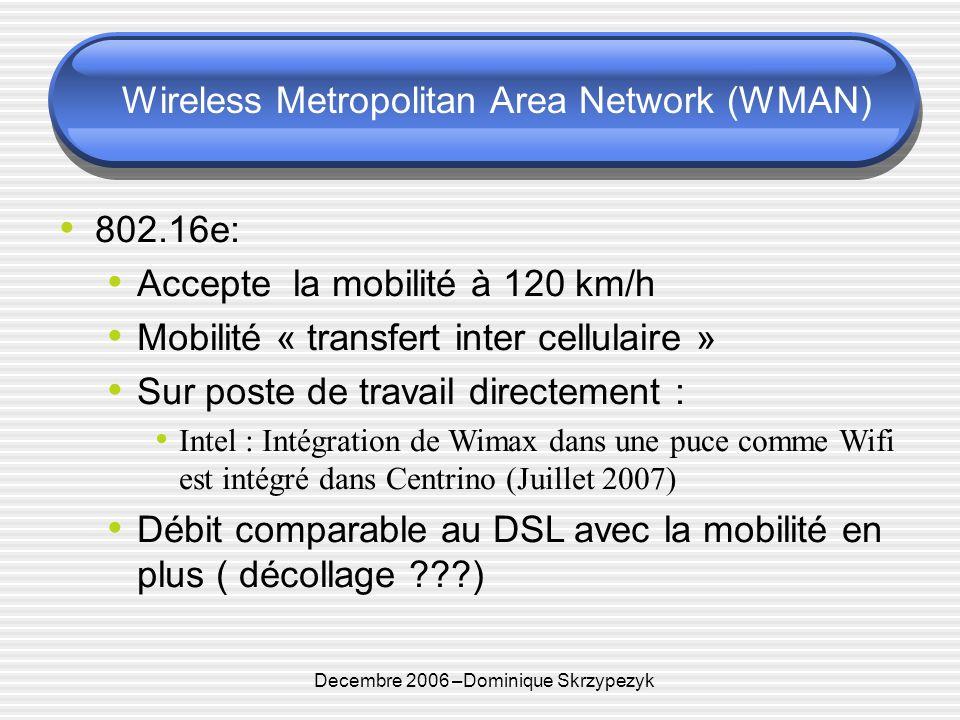 Decembre 2006 –Dominique Skrzypezyk Wireless Metropolitan Area Network (WMAN) 802.16e: Accepte la mobilité à 120 km/h Mobilité « transfert inter cellulaire » Sur poste de travail directement : Intel : Intégration de Wimax dans une puce comme Wifi est intégré dans Centrino (Juillet 2007) Débit comparable au DSL avec la mobilité en plus ( décollage )