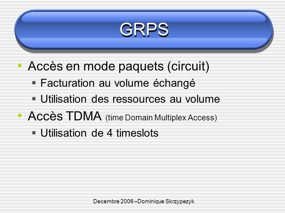 Decembre 2006 –Dominique Skrzypezyk GRPS Accès en mode paquets (circuit) Facturation au volume échangé Utilisation des ressources au volume Accès TDMA (time Domain Multiplex Access) Utilisation de 4 timeslots