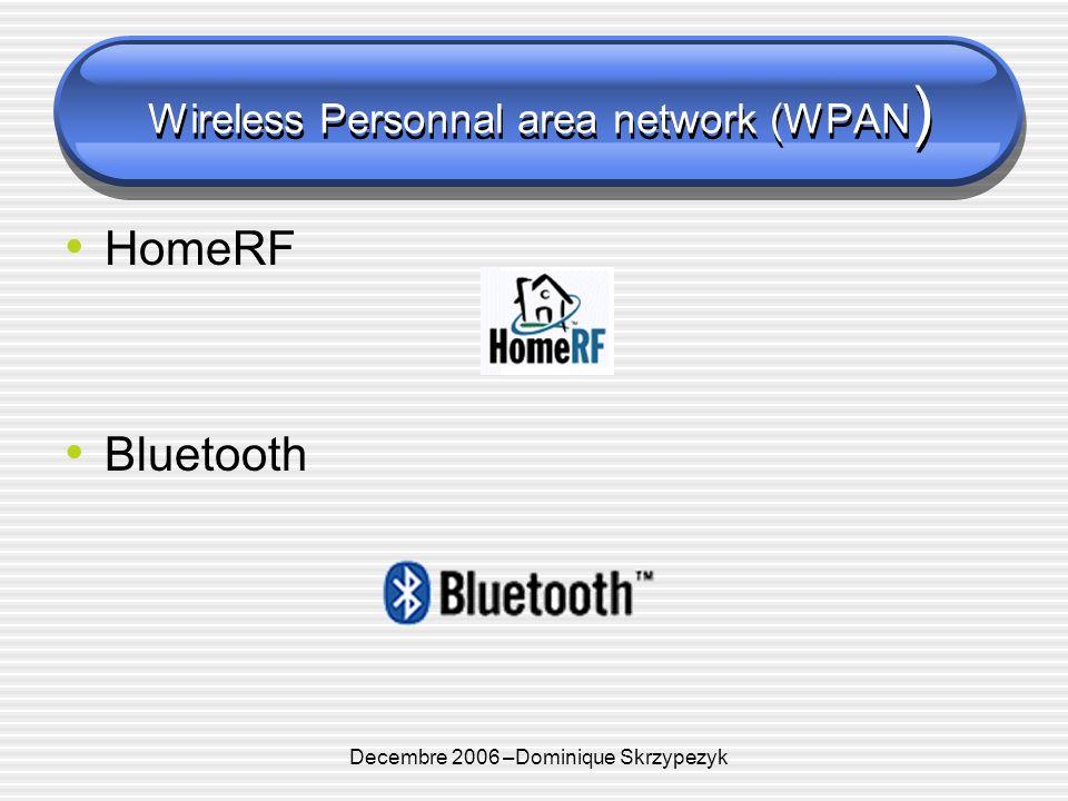 Decembre 2006 –Dominique Skrzypezyk Hiperlan 1 et 2 (WLAN) Hiperlan 2 Standard publié en 2000 Débits théoriques 54 Mbit/s Portée 50m Peu de produits commerciaux
