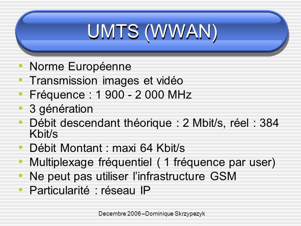 Decembre 2006 –Dominique Skrzypezyk UMTS (WWAN) Norme Européenne Transmission images et vidéo Fréquence : 1 900 - 2 000 MHz 3 génération Débit descendant théorique : 2 Mbit/s, réel : 384 Kbit/s Débit Montant : maxi 64 Kbit/s Multiplexage fréquentiel ( 1 fréquence par user) Ne peut pas utiliser linfrastructure GSM Particularité : réseau IP