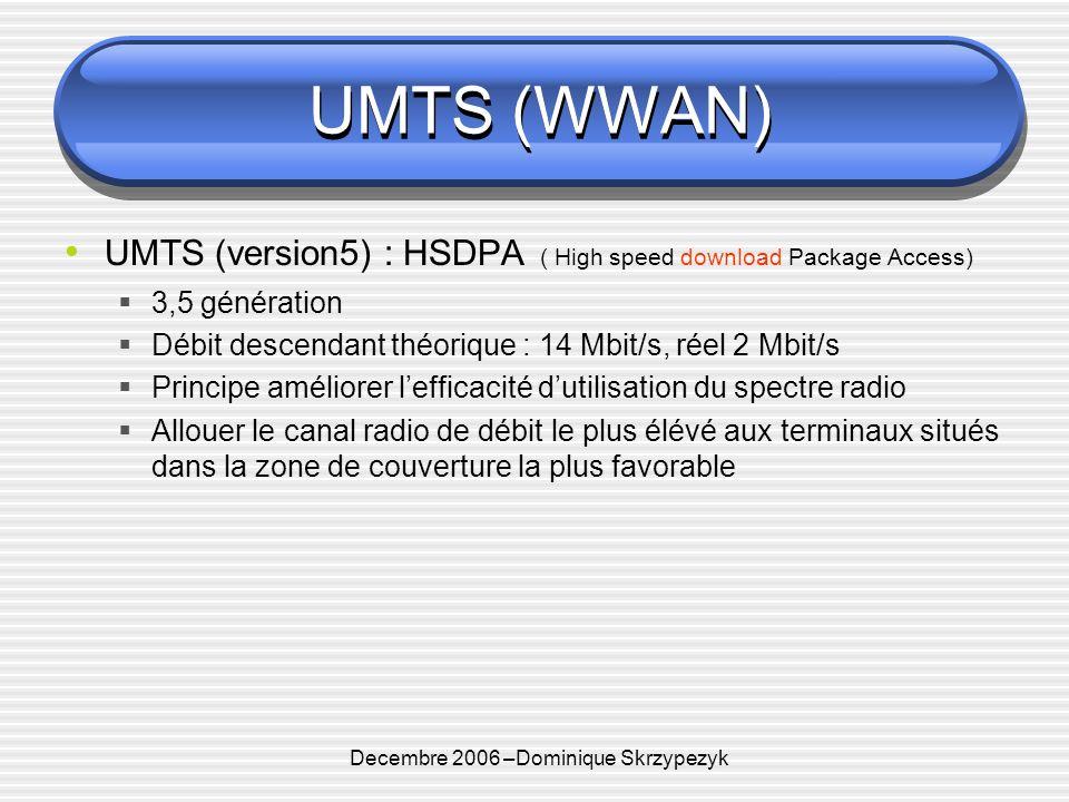 Decembre 2006 –Dominique Skrzypezyk UMTS (WWAN) UMTS (version5) : HSDPA ( High speed download Package Access) 3,5 génération Débit descendant théorique : 14 Mbit/s, réel 2 Mbit/s Principe améliorer lefficacité dutilisation du spectre radio Allouer le canal radio de débit le plus élévé aux terminaux situés dans la zone de couverture la plus favorable