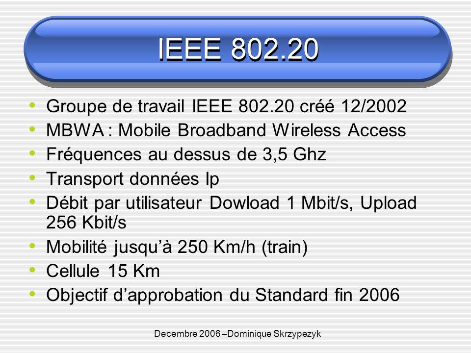 Decembre 2006 –Dominique Skrzypezyk IEEE 802.20 Groupe de travail IEEE 802.20 créé 12/2002 MBWA : Mobile Broadband Wireless Access Fréquences au dessus de 3,5 Ghz Transport données Ip Débit par utilisateur Dowload 1 Mbit/s, Upload 256 Kbit/s Mobilité jusquà 250 Km/h (train) Cellule 15 Km Objectif dapprobation du Standard fin 2006