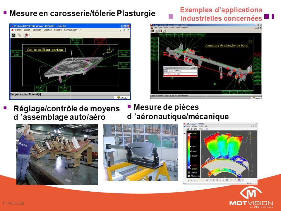 PI V6.3-JCB Exemples dapplications industrielles concernées Réglage/contrôle de moyens d assemblage auto/aéro Mesure de pièces d aéronautique/mécanique Mesure en carosserie/tôlerie Plasturgie