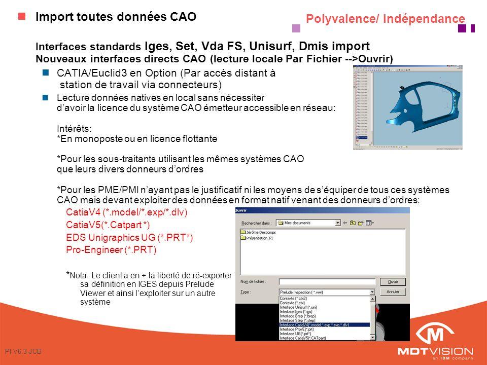 PI V6.3-JCB Polyvalence/ indépendance Import toutes données CAO Interfaces standards Iges, Set, Vda FS, Unisurf, Dmis import Nouveaux interfaces directs CAO (lecture locale Par Fichier -->Ouvrir) nCATIA/Euclid3 en Option (Par accès distant à station de travail via connecteurs) nLecture données natives en local sans nécessiter davoir la licence du système CAO émetteur accessible en réseau: Intérêts: *En monoposte ou en licence flottante *Pour les sous-traitants utilisant les mêmes systèmes CAO que leurs divers donneurs dordres *Pour les PME/PMI nayant pas le justificatif ni les moyens de séquiper de tous ces systèmes CAO mais devant exploiter des données en format natif venant des donneurs dordres: CatiaV4 (*.model/*.exp/*.dlv) CatiaV5(*.Catpart *) EDS Unigraphics UG (*.PRT*) Pro-Engineer (*.PRT) * Nota: Le client a en + la liberté de ré-exporter sa définition en IGES depuis Prelude Viewer et ainsi lexploiter sur un autre système