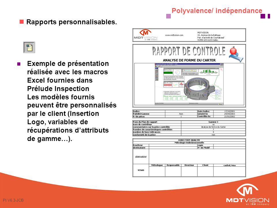 PI V6.3-JCB Exemple de présentation réalisée avec les macros Excel fournies dans Prélude Inspection Les modèles fournis peuvent être personnalisés par le client (Insertion Logo, variables de récupérations dattributs de gamme…).