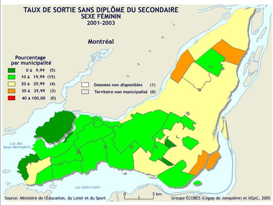 Une île, deux mondes Taux de sortie sans diplôme % Garçons (%) Filles (%) À lest Verdun49,134,9 Montréal-Est42,435,0 Montréal-Nord40,030,5 Lachine40,023,9 À louest Mont-Royal13,914,7 Hampstead12,8 7,0 Senneville 6,3 8,3 La région de Montréal32,022,2 Lensemble du Québec31,318,5