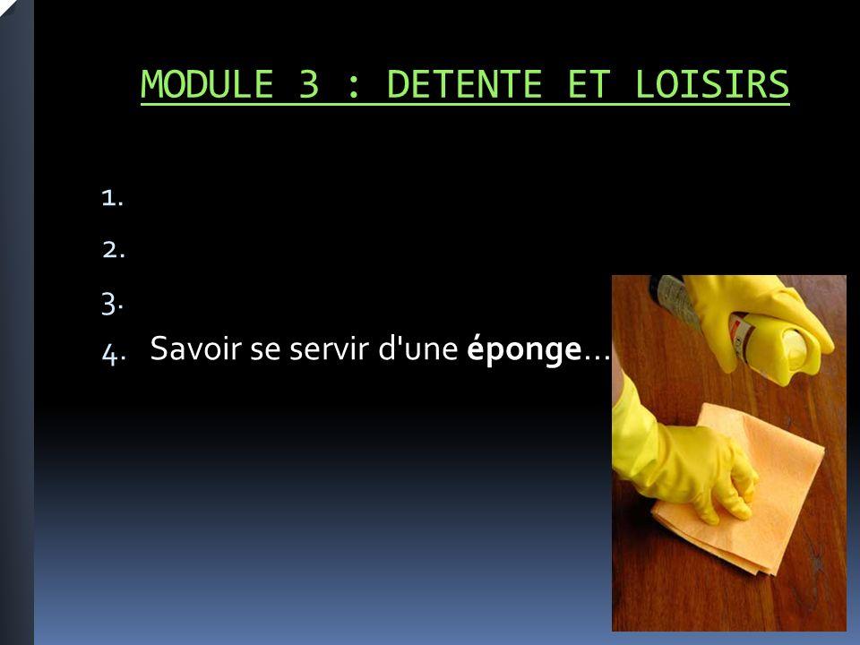 MODULE 3 : DETENTE ET LOISIRS 1. 2. 3. 4. Savoir se servir d une éponge...