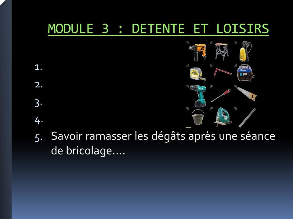 MODULE 3 : DETENTE ET LOISIRS 1. 2. 3. 4. 5.