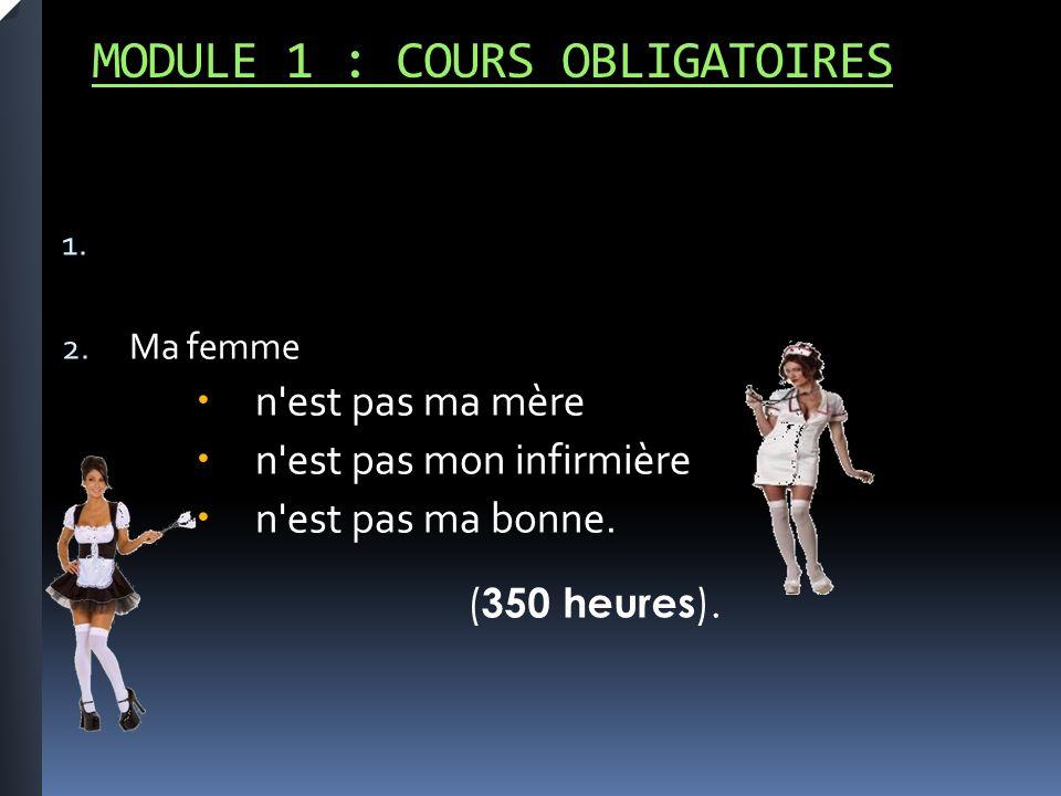 MODULE 1 : COURS OBLIGATOIRES 1. 2.