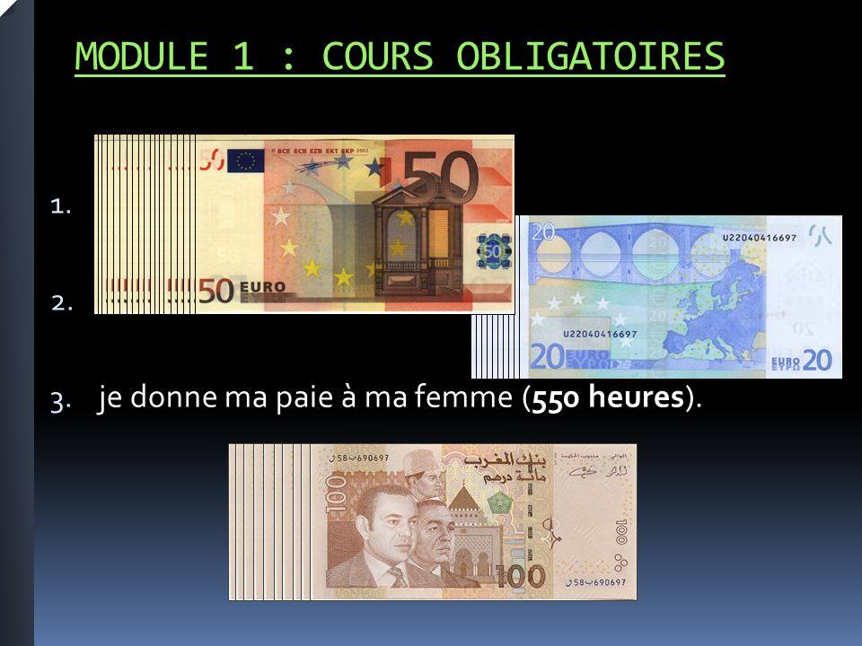 MODULE 1 : COURS OBLIGATOIRES 1. 2. 3. je donne ma paie à ma femme (550 heures).