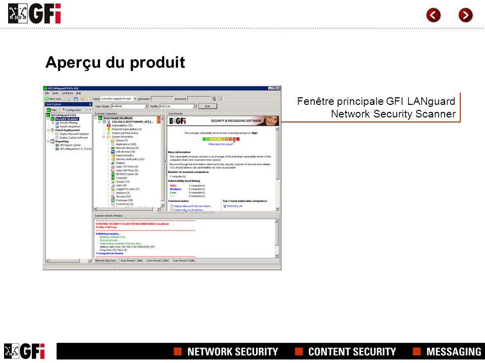 Fenêtre principale GFI LANguard Network Security Scanner Aperçu du produit