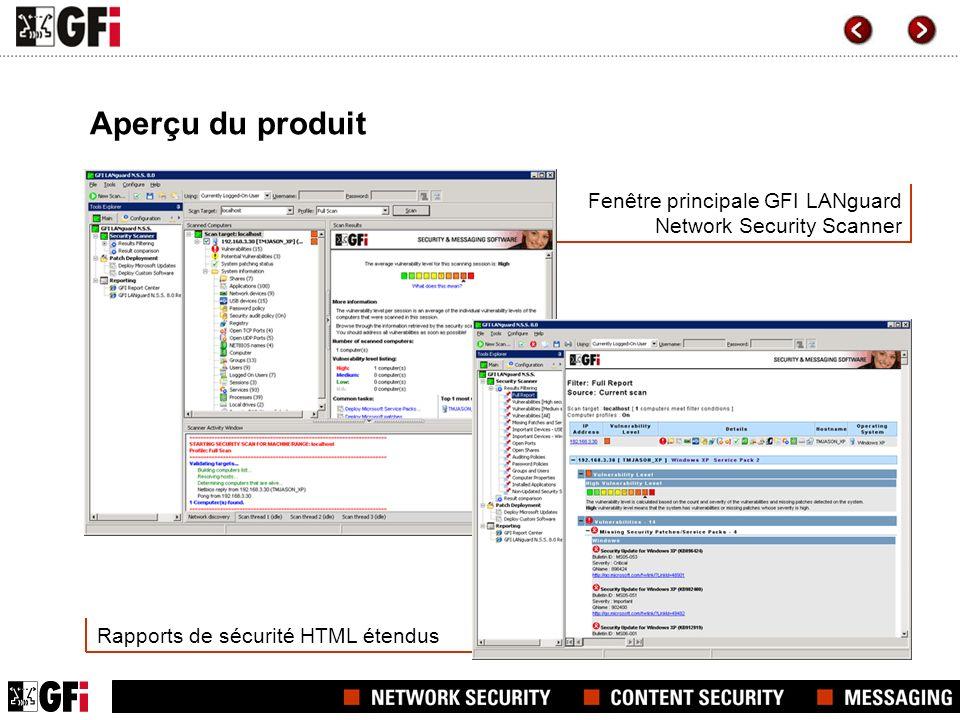 Fenêtre principale GFI LANguard Network Security Scanner Rapports de sécurité HTML étendus Aperçu du produit