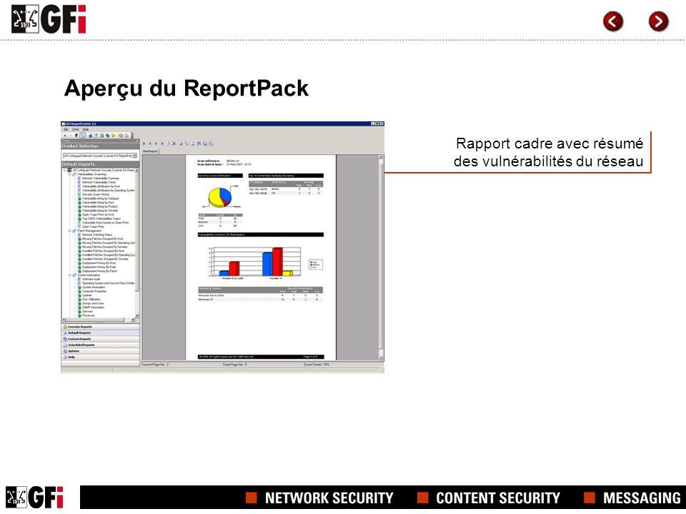 Rapport cadre avec résumé des vulnérabilités du réseau Aperçu du ReportPack