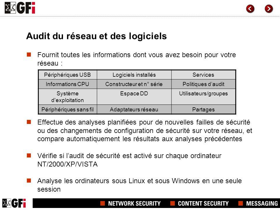 Eloges Quelques sociétés qui utilisent GFI LANguard Network Security Scanner : >Daimler Chrysler >OTAN >Siemens Communications Limited >United Overseas Bank Ltd >Virgin Mobile >Medical Research Council (UK) >Air France/KLM >et beaucoup dautres .