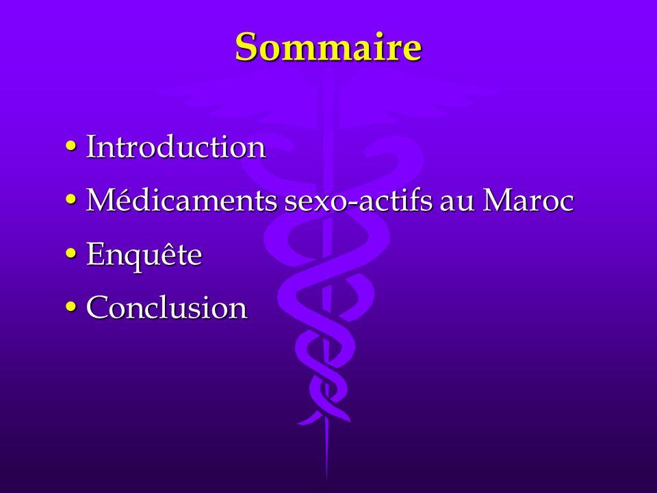 Sommaire IntroductionIntroduction Médicaments sexo-actifs au MarocMédicaments sexo-actifs au Maroc EnquêteEnquête ConclusionConclusion