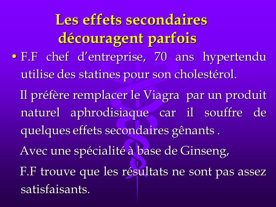 Les effets secondaires découragent parfois Les effets secondaires découragent parfois F.F chef dentreprise, 70 ans hypertendu utilise des statines pour son cholestérol.F.F chef dentreprise, 70 ans hypertendu utilise des statines pour son cholestérol.