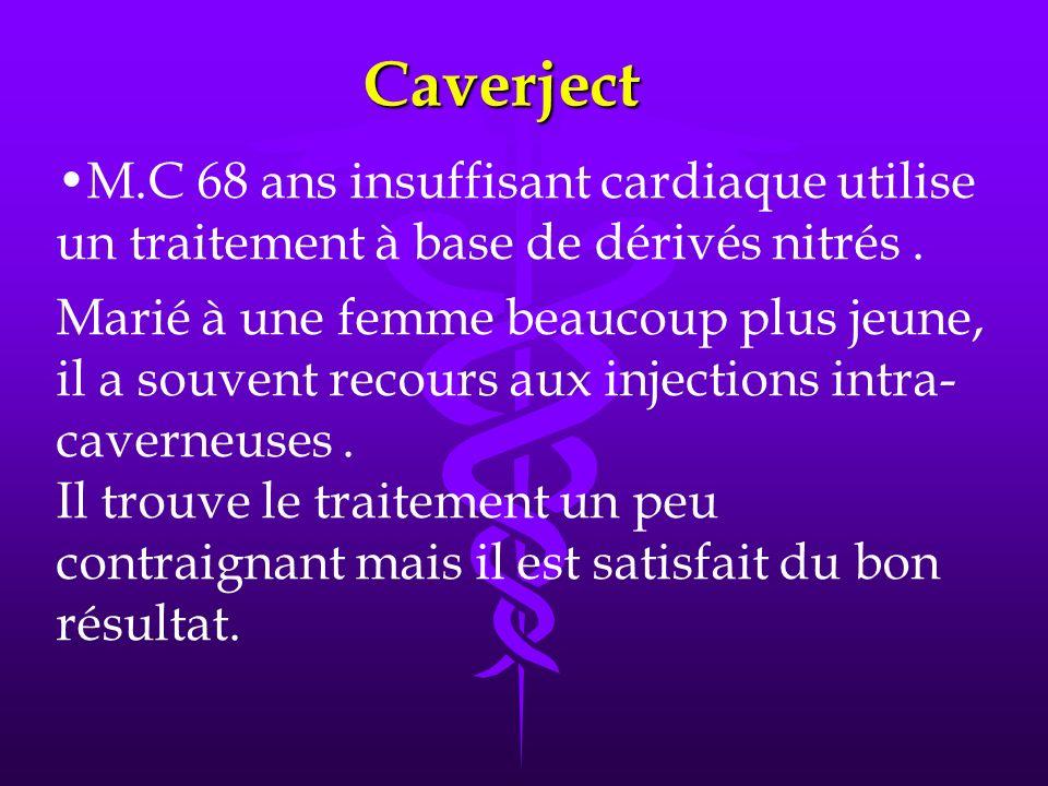 Caverject M.C 68 ans insuffisant cardiaque utilise un traitement à base de dérivés nitrés.