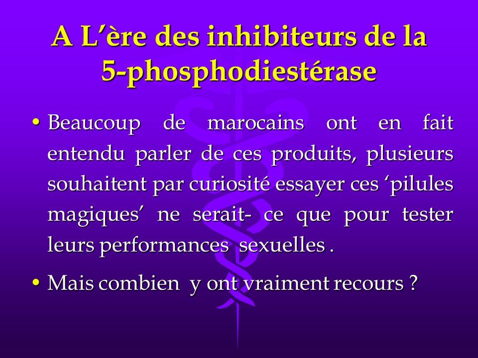A Lère des inhibiteurs de la 5-phosphodiestérase Beaucoup de marocains ont en fait entendu parler de ces produits, plusieurs souhaitent par curiosité essayer ces pilules magiques ne serait- ce que pour tester leurs performances sexuelles.Beaucoup de marocains ont en fait entendu parler de ces produits, plusieurs souhaitent par curiosité essayer ces pilules magiques ne serait- ce que pour tester leurs performances sexuelles.