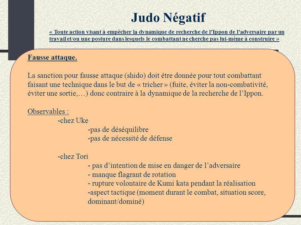 « Toute action visant à empêcher la dynamique de recherche de lIppon de ladversaire par un travail et/ou une posture dans lesquels le combattant ne cherche pas lui-même à construire » Judo Négatif Fausse attaque.