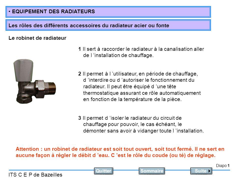 Diapo 1 ITS C E P de Bazeilles EQUIPEMENT DES RADIATEURS Les rôles des différents accessoires du radiateur acier ou fonte 1 Il sert à raccorder le radiateur à la canalisation aller de l installation de chauffage.