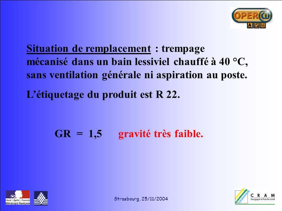 Strasbourg, 25/11/2004 Situation de remplacement : trempage mécanisé dans un bain lessiviel chauffé à 40 °C, sans ventilation générale ni aspiration au poste.