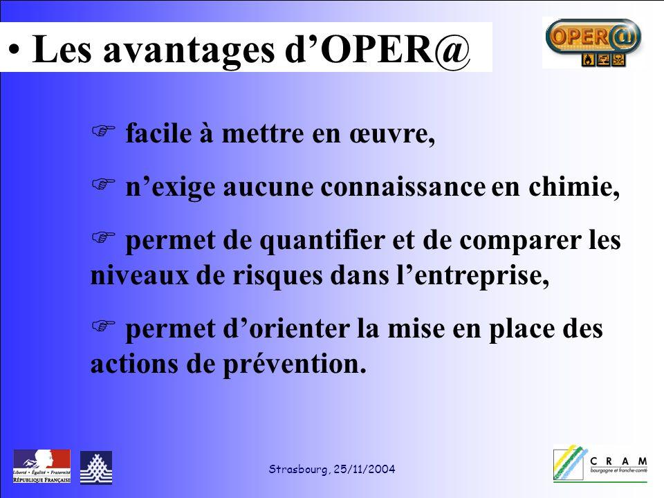 Strasbourg, 25/11/2004 facile à mettre en œuvre, nexige aucune connaissance en chimie, permet de quantifier et de comparer les niveaux de risques dans lentreprise, permet dorienter la mise en place des actions de prévention.