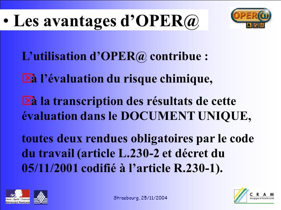 Strasbourg, 25/11/2004 Lutilisation dOPER@ contribue : à lévaluation du risque chimique, à la transcription des résultats de cette évaluation dans le DOCUMENT UNIQUE, toutes deux rendues obligatoires par le code du travail (article L.230-2 et décret du 05/11/2001 codifié à larticle R.230-1).