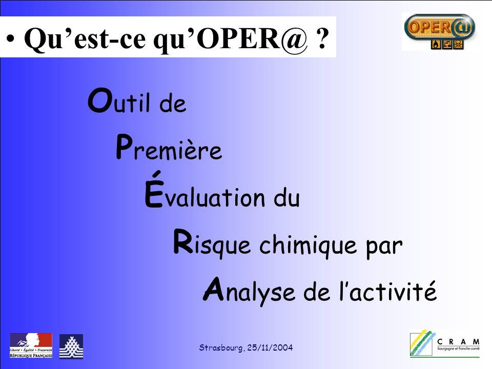 Strasbourg, 25/11/2004 O util de P remière É valuation du R isque chimique par A nalyse de lactivité Quest-ce quOPER@