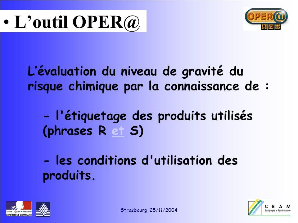 Strasbourg, 25/11/2004 Lévaluation du niveau de gravité du risque chimique par la connaissance de : - l étiquetage des produits utilisés (phrases R et S) - les conditions d utilisation des produits.