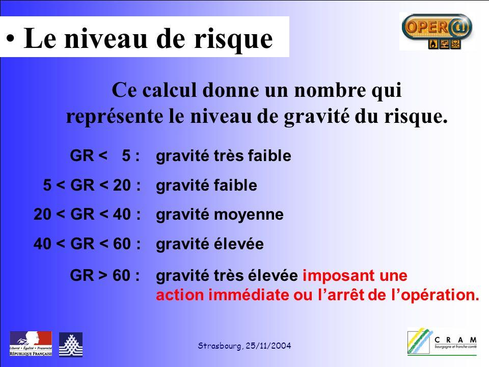 Strasbourg, 25/11/2004 Ce calcul donne un nombre qui représente le niveau de gravité du risque.