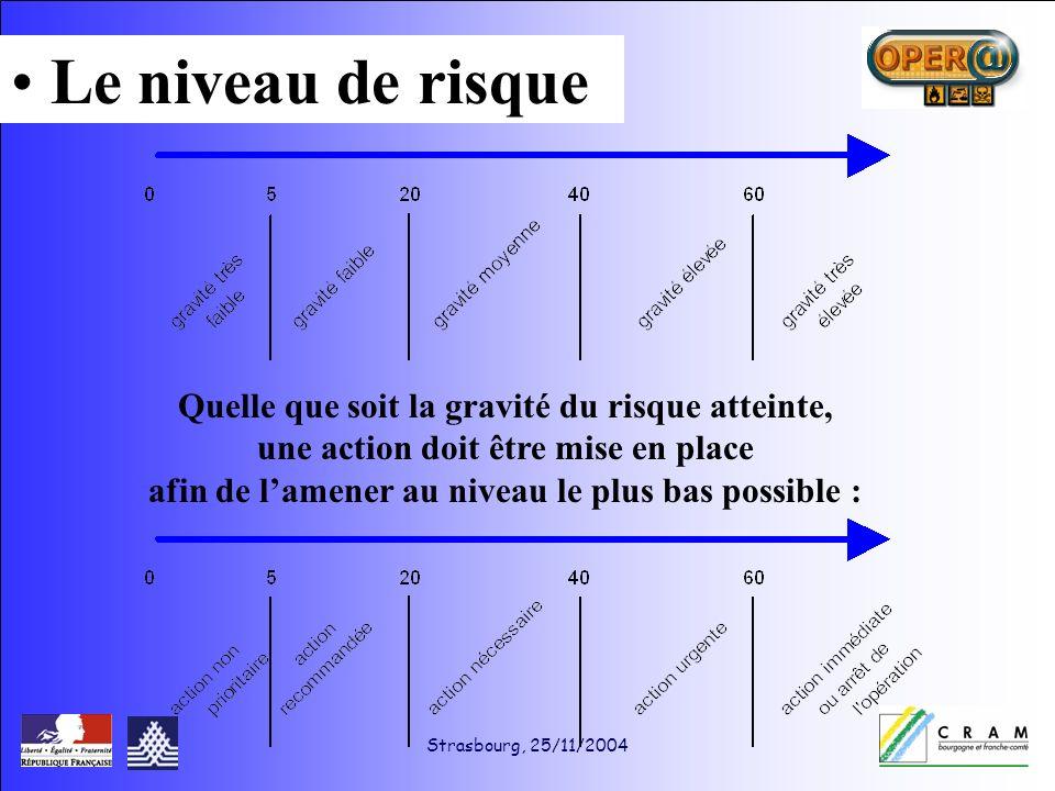 Strasbourg, 25/11/2004 Quelle que soit la gravité du risque atteinte, une action doit être mise en place afin de lamener au niveau le plus bas possible : Le niveau de risque