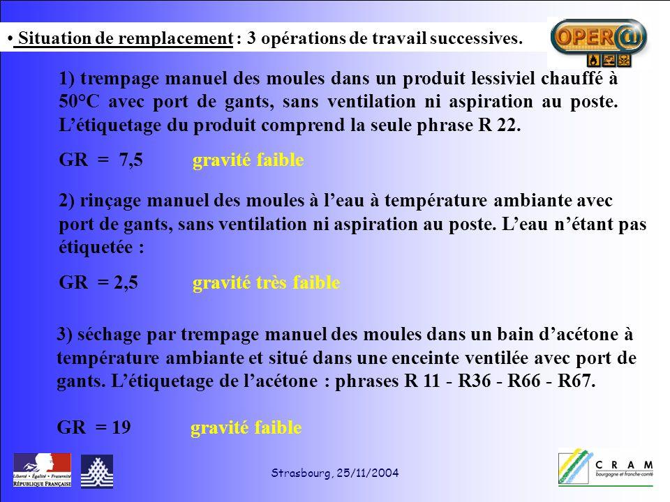 Strasbourg, 25/11/2004 1) trempage manuel des moules dans un produit lessiviel chauffé à 50°C avec port de gants, sans ventilation ni aspiration au poste.