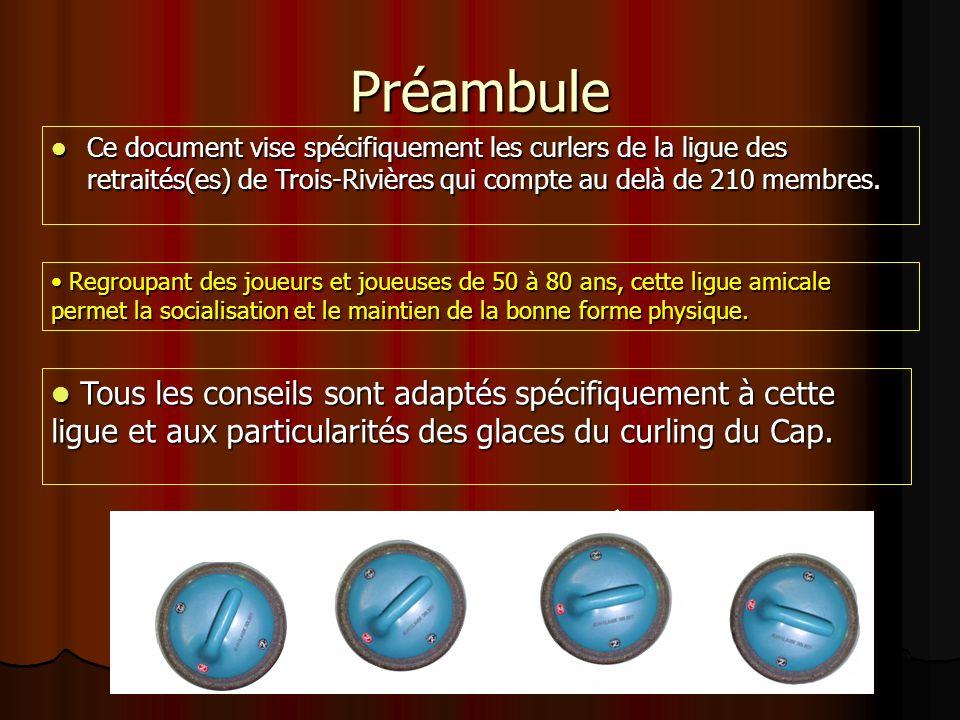 Ce document vise spécifiquement les curlers de la ligue des retraités(es) de Trois-Rivières qui compte au delà de 210 membres.