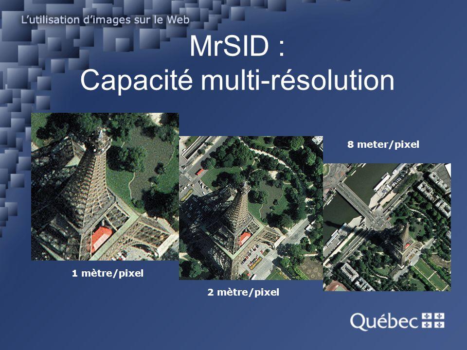 1 mètre/pixel 2 mètre/pixel 8 meter/pixel MrSID : Capacité multi-résolution