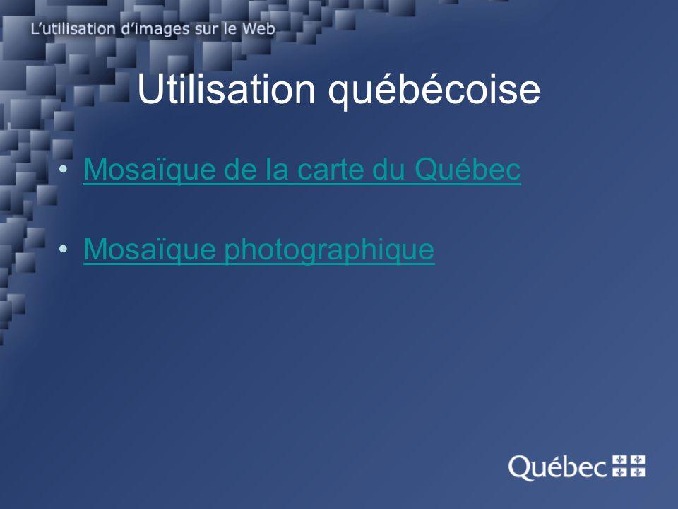 Utilisation québécoise Mosaïque de la carte du Québec Mosaïque photographique