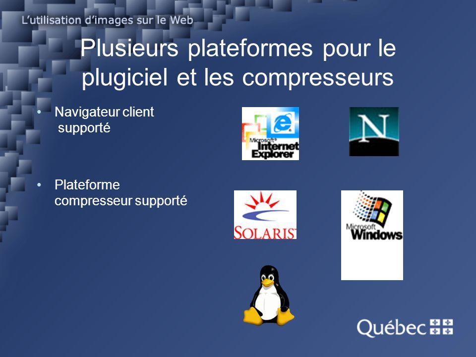 Plusieurs plateformes pour le plugiciel et les compresseurs Navigateur client supporté Plateforme compresseur supporté