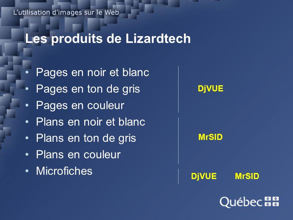 Les produits de Lizardtech Pages en noir et blanc Pages en ton de gris Pages en couleur Plans en noir et blanc Plans en ton de gris Plans en couleur Microfiches DjVUE MrSID DjVUE MrSID