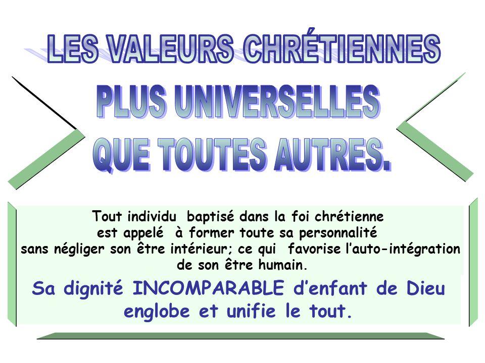 Tout individu baptisé dans la foi chrétienne est appelé à former toute sa personnalité sans négliger son être intérieur; ce qui favorise lauto-intégration de son être humain.