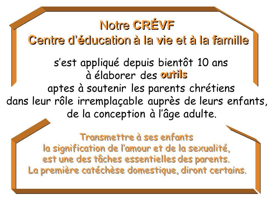 Notre CRÉVF Centre déducation à la vie et à la famille Notre CRÉVF Centre déducation à la vie et à la famille Transmettre à ses enfants la signification de lamour et de la sexualité, est une des tâches essentielles des parents.